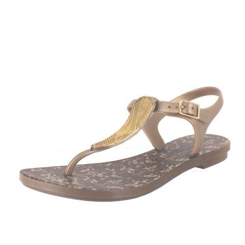 GRENDHA SAVANNAH S BROWN/GOLD WOMENS ANKLE STRAP Size 8M