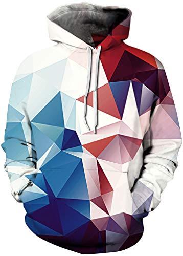 FLYCHEN Men's 3D Hoodie Pullover Print Pattern Fashion Sweatshirt Unisex Hoody Blue Red White Crystal SM