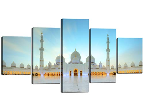 (Painting on Canvas with Frame Islamic Religion Picture Jerusalem Wall Art Mecca Modern Muslim Split Artwork 5 Piece Prints Giclee for Living Room Home Decor Wooden Stretched Ready to Hang(60''Wx32''H))