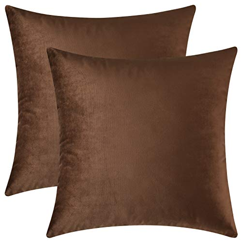 Mixhug Decorative Throw Pillow Covers, Velvet Cushion Covers, Solid Throw Pillow Cases for Couch and Bed Pillows, Brown, 20 x 20 Inches, Set of - Brown Velvet Cushion