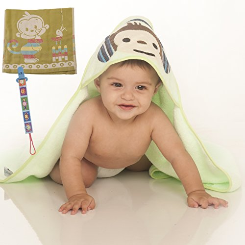 Premium Hooded Baby Bath Towel For Boys & Girls: Perfect Baby Shower Gift Set Ultra Soft Absorbent Cotton, Newborn & Toddler Wrap (Light Green) by Ofir babies