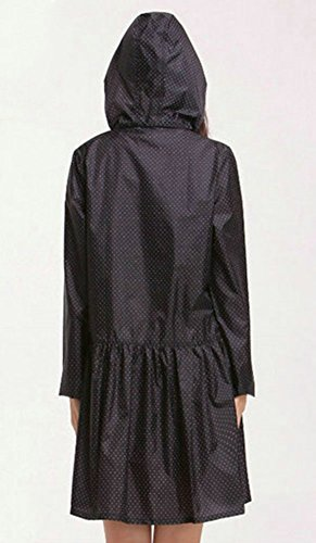 Poncho con del Portable Aire De Viento Rojo Reutilizable La Negro Impermeable Capa Libre Al De Mujer Capucha Poncho Lluvia LaoZan De x7IqWTOZw