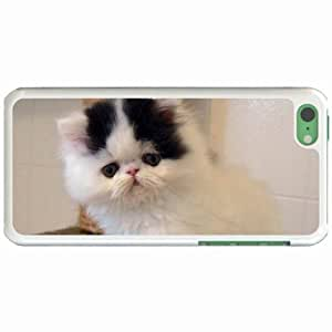 Custom Fashion Design iPhone 5C Back Cover Case Personalized Customized Diy Gifts In Nice kitten White