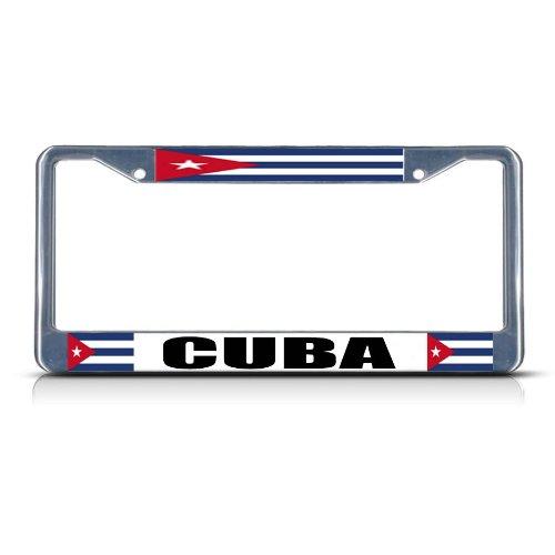 Cuba Flag License Plate (CUBA CUBAN FLAG Chrome Heavy Duty Metal License Plate Frame)