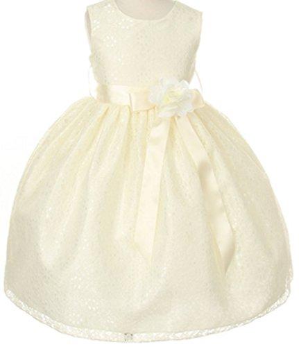 Big Girls' Ivory Dress Lace Custom Ribbon Flowers Girls Dresses Ivory Ivory 8 ()