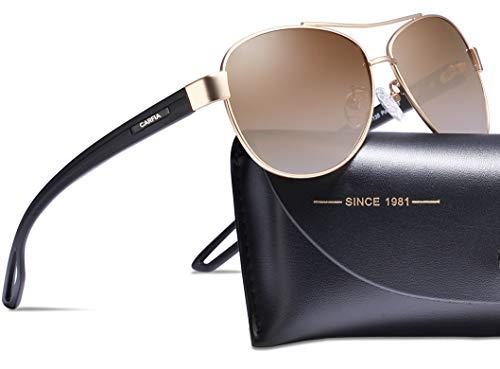 Carfia Polarized Sunglasses for Women UV400 Protection Metal ()