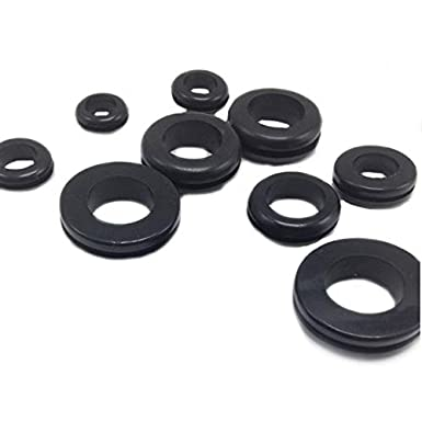 Flyshop Round Synthetic Rubber Grommet Wiring Coil Gasket for Plugs Cables Wires10 Pieces Black ID-12mm