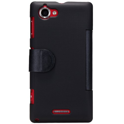 Nilkin V Style Mix Flip PU Leather Cover PC Hard Case for Sony Xperia L S36H/C2105/C2104 - Retail Packaging - Black