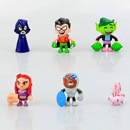 PAPRING Set 6 Teen Titans Go Toys 2 inch Beast Boy Doom Patrol Silkie Small PVC Action Figure Mini Model Figure Gift Christmas Halloween Birthday Gifts Cute Doll Collection Collectible -