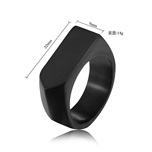 Men's Stainless Steel Simple Square Band Ring Signet Style, Black Size 7 by LANHI (Image #3)