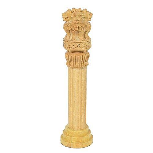 Fine Craft India Sarnath Ashoka Pillar Wooden Handicraft Administration Showpiece Gift Height 8 ()