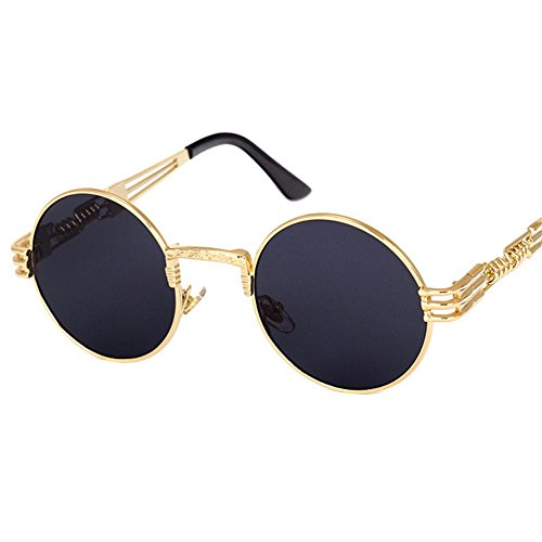 Peekaboo Vintage Retro Gothic Steampunk Mirror Sunglasses Gold and Black Sun Glasses Vintage Round Circle Men UV Gafas De Sol (Gold frame black lens)