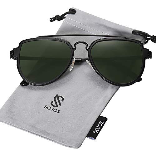 SOJOS Fashion Polarized Aviator Sunglasses for Men Women Mirrored Lens SJ1051 with Black Frame/G15 Polarized ()