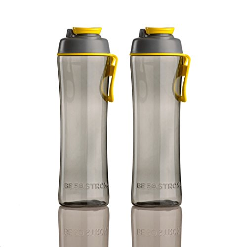 50 Strong Chug Water Bottle with Chug Cap (2-Pack) (Gray / Lemon Yellow, 24 oz)