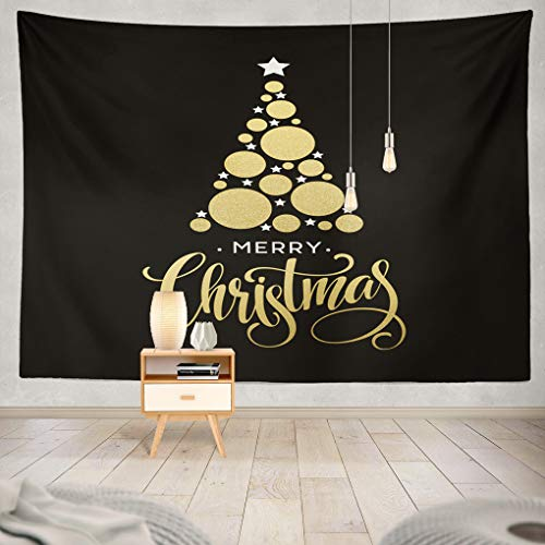 Summor Tapestry Golden Christmas Tree Made Glittering Circle Star Merry Christmas Lettering Hanging Tapestries 60 x 80 inch Wall Hanging Decor for Bedroom Livingroom Dorm ()