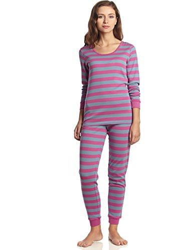 Leveret Womens Pajamas Fitted Striped 2 Piece Pjs Set 100% Cotton Sleep Pants (Medium, Purple & Denim)
