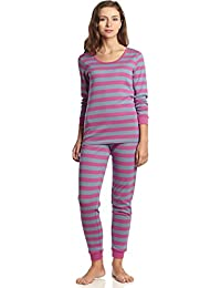 Women's Fitted Striped 2 Piece Pajama Set Top & Pants 100% Cotton (XS-XL)