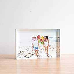 TWING Acrylic Photo Frame Clear Acrylic Block With White Board 5x7 inches Desktop Frame 24mm Thickness