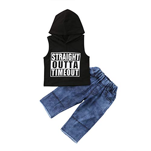 Toddler Infant Baby Boys Sleeveless Straight Outtas Time Out Hoodie Tank Top and Denim Jeans Outfit Set (Black, 1-2T) ()