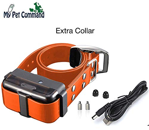My Pet Command 1.25 Mile Long Range Safe Waterproof Rechargeable Dog Hunting and Training Extra Collar only with Vibrate Tone and Flashing LED Night Light add up to 3 Collars to 1 Remote Orange Strap