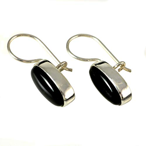 Women's Sterling Silver Natural Oval Black Onyx Gemstone Handmade Drop Earrings
