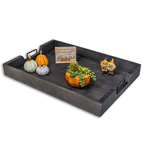 Premium Ottoman Tray - Coffee Table Decor - Kitchen/Home Serving Tray - Modern Rustic Farmhouse Trays - Decorative Wood Dinner Platter - Breakfast In Bed - Dining Room Buffet Platters - Black Handle