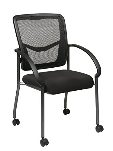 Office Star Breathable ProGrid Back and Padded Coal FreeFlex Seat, Contour Arms, Titanium Finish Stacking Visitors Chair with Casters, Black (Stacking Guest Chair)