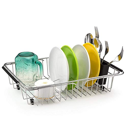 (Sink Dish Drying Rack with Silverware Drying Storage Holder, in Sink or on Countertop Dish Drainer, Adjustable Bar Drying Basket, Rust resistant Stainless Steel)
