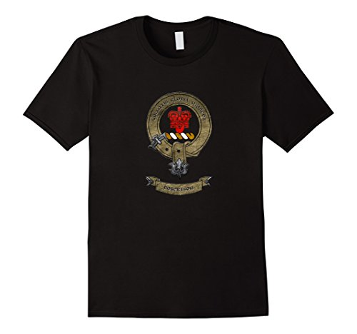 Mens Clan Robertson   Scottish Pride Family Coat Of Arms T Shirt Large Black