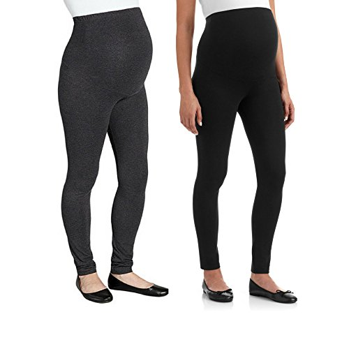 RUMOR HAS IT Maternity Over The Belly Super Soft Support Leggings (Medium, Black-Charcoal (2 Pack))