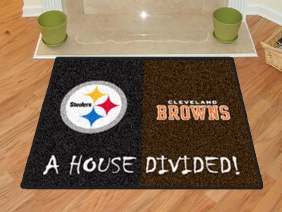 NFL - Pittsburgh Steelers - Cleveland Browns All-Star House Divided Rug Nfl Area House Rugs