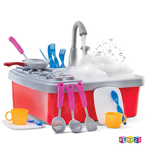 41SFjfK8SuL - Play22 Kitchen Sink Toy 17 Set - Play Sink Play House Pretend Toy Kitchen Sink with Running Water - Kids Toy Sink with Real Faucet & Drain, Dishes, Utensils & Stove - Kitchen Toys for Toddlers & Kids