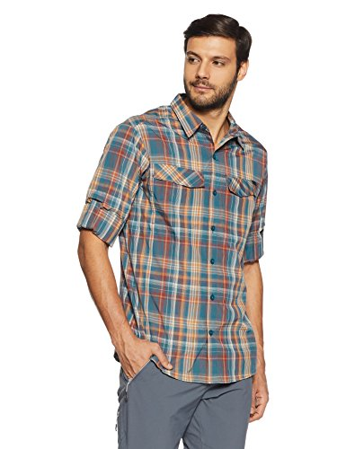 Columbia Blue Plaid Shirt Men's Heron Long Ridge Silver Plaid Sleeve qwx7r4RqU