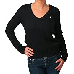 Ralph Lauren Women's Sport V Neck Cable Knit Sweater