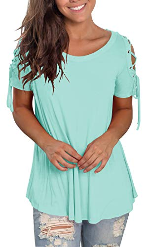 (Jescakoo Womens T Shirts Short Sleeve Crew Neck Tops and Blouses Dressy Lake Blue XL)