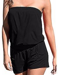 Women's Strapless Off Shoulder Printed Beachwear Short...