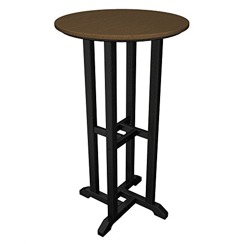 POLYWOOD Contempo 24-Inch Round Bar Height Table, Black Fram