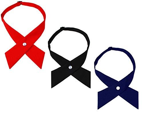 Levao Solid Color Criss-Cross Tie, Girls' School Uniform Cross Adjustable Bowtie PB306-D,G,H Mix3-2 Burgundy,Black,Navy