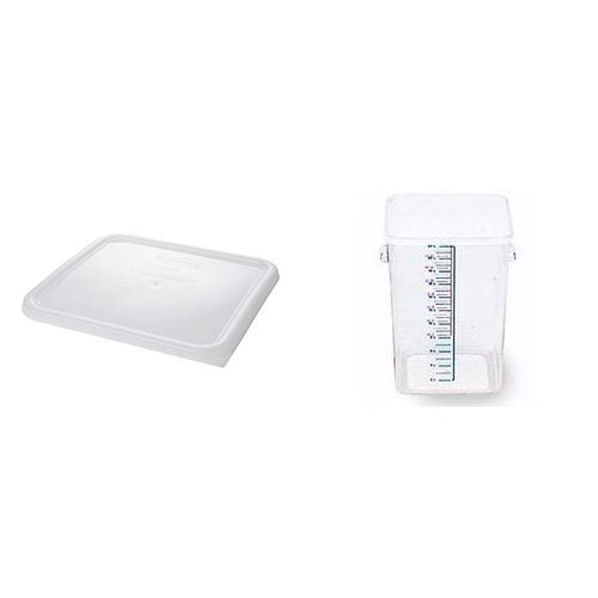 Rubbermaid Commercial Space Saving Food Service Container with Lid, 22-Quart, Clear, FG631800 and FG632200