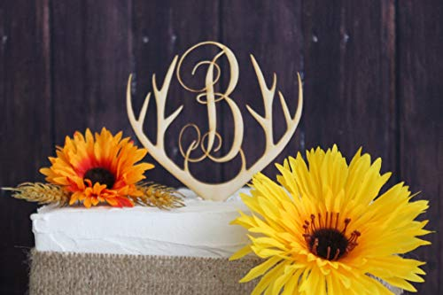 Cake Topper-Wooden Deer Antlers Birch Laser Cut Cake Topper
