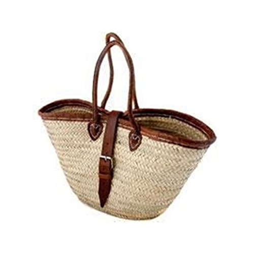 Morocco Leather Handled with Trim and Buckle Palm Leave Basket (Baskets Handles Leather With Wicker Shopping)