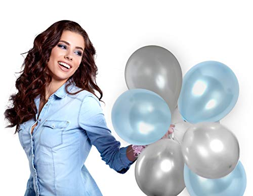 (Treasures Gifted Silver and Light Blue Balloons Set in Metallic Latex for Baby Shower Birthday Wedding)