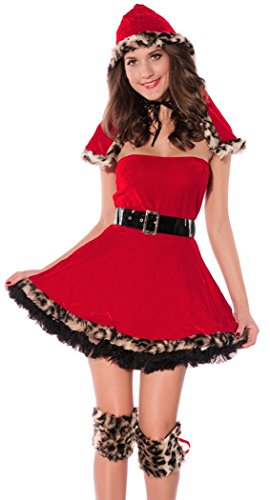 IF FEEL Halloween Masquerade Party Costume Lingerie Sexy Cosplay Bodysuit Sets (One Size, 16Red)