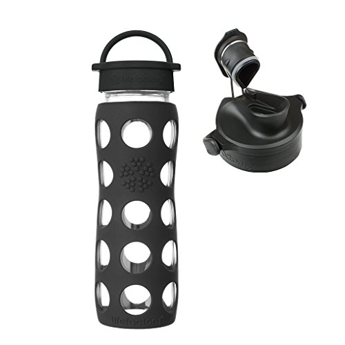 Lifefactory 22oz. Onyx Glass Water Bottle w/Silicone Sleeve and Active Flip Cap