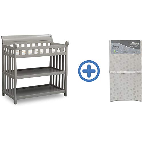 Lowest Price! Delta Children Eclipse Changing Table, Grey and Waterproof Baby and Infant Diaper Chan...