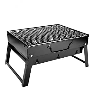 "Outdoor4less Portable Folding Simple BBQ Charcoal Grill Black - Lightweight, Foldable - For Camping, Picnic, Outdoor - 17"" x 12'' x 9"""