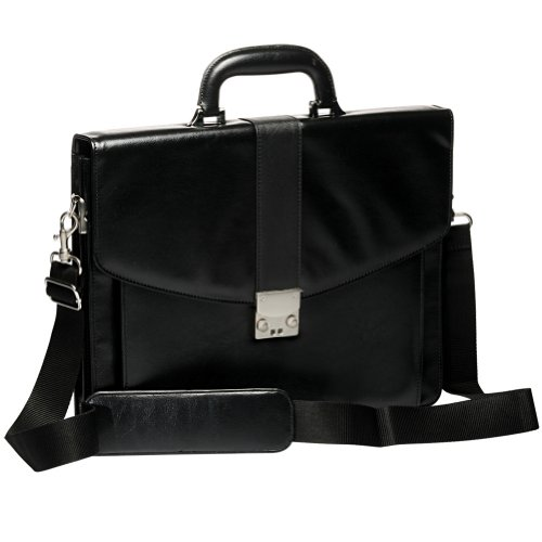 Black Leather Briefcase with Silver Metal Press-lock ...