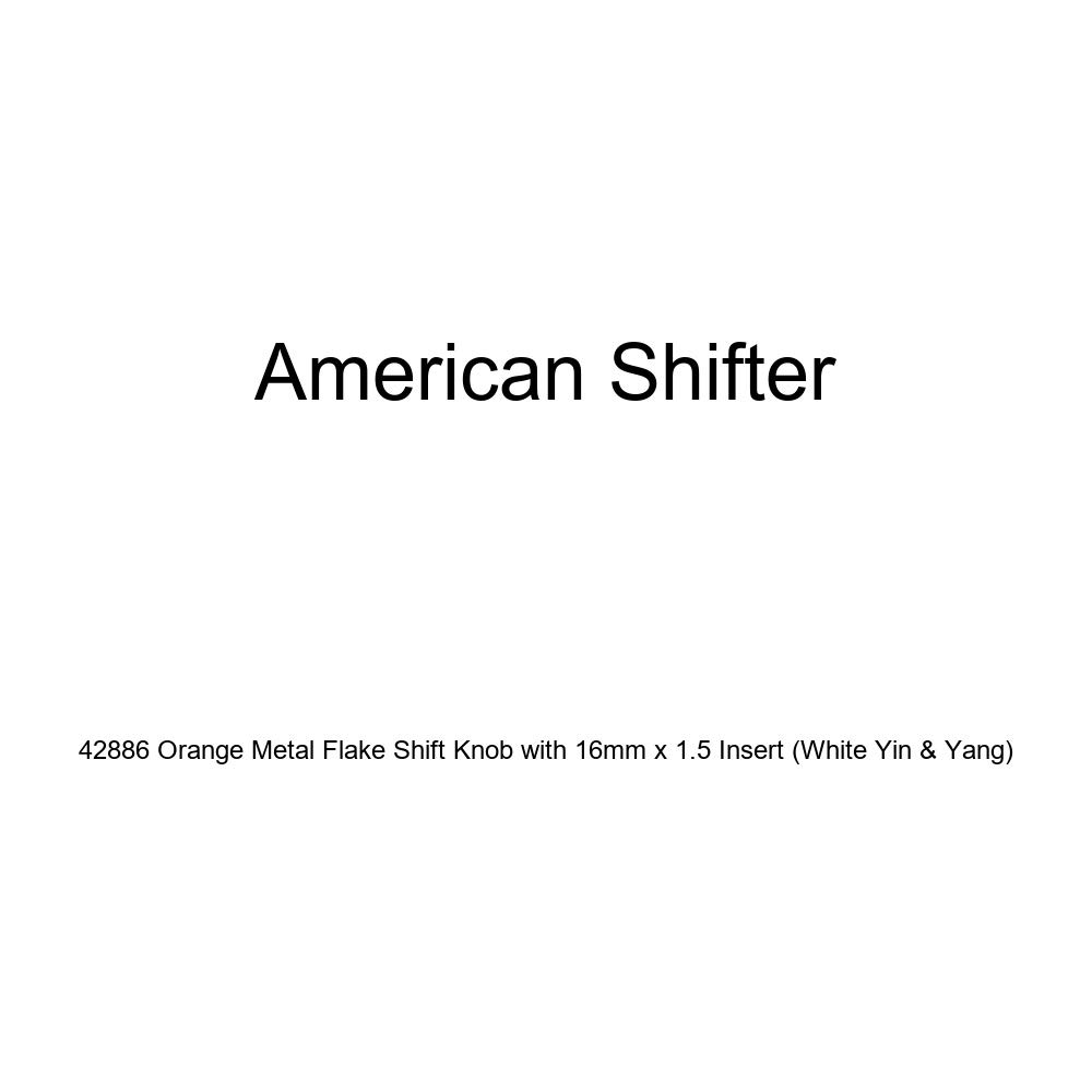 American Shifter 42886 Orange Metal Flake Shift Knob with 16mm x 1.5 Insert White Yin /& Yang