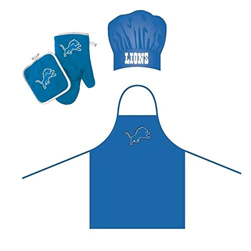 4 Piece Blue NFL Detroit Lions Apron, Chef Hat, Oven Mitt and Pot Holder Set Team Logo Printed Kitchen Chef Apron Sports Themed Cooking Uniform BBQ Gardening Bib Clothing Fans ()