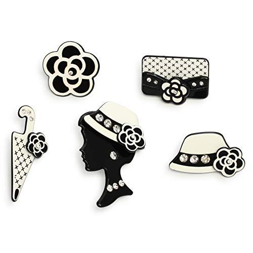 - Fashion Jewelry MISASHA Set of Five Mini Pins Accessory for Vest Dress Jacket (Umbrella)